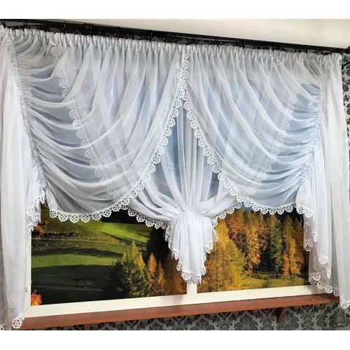 Zosia - draperia z woalu z pięknym żabotem wykończona delikatną, stylową gipiurką