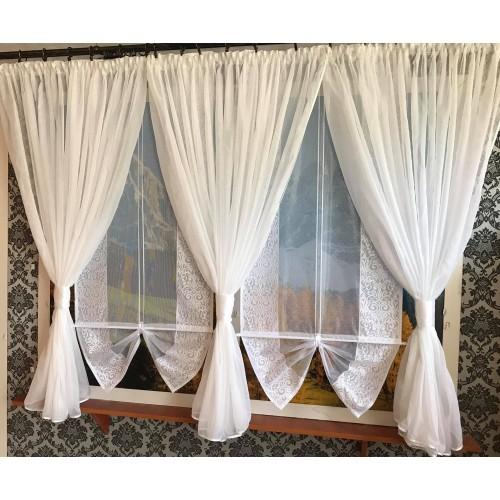 Firana Sonia, żakardowe panele, ekrany  oraz kokony z woalu.